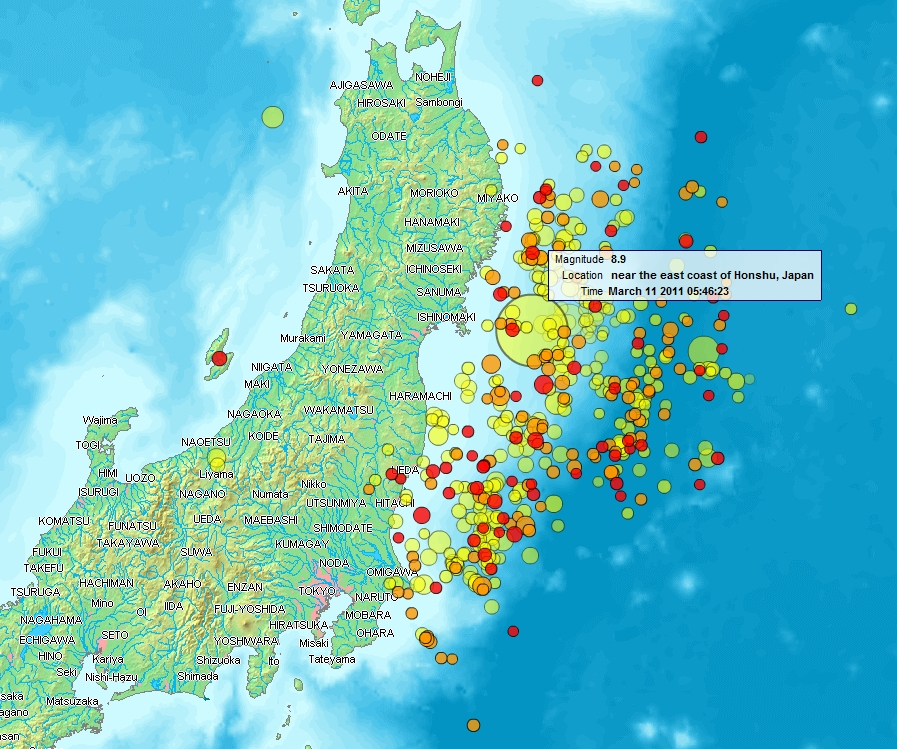 earthquake map of world. NHK World (日本放送協会 Nippon
