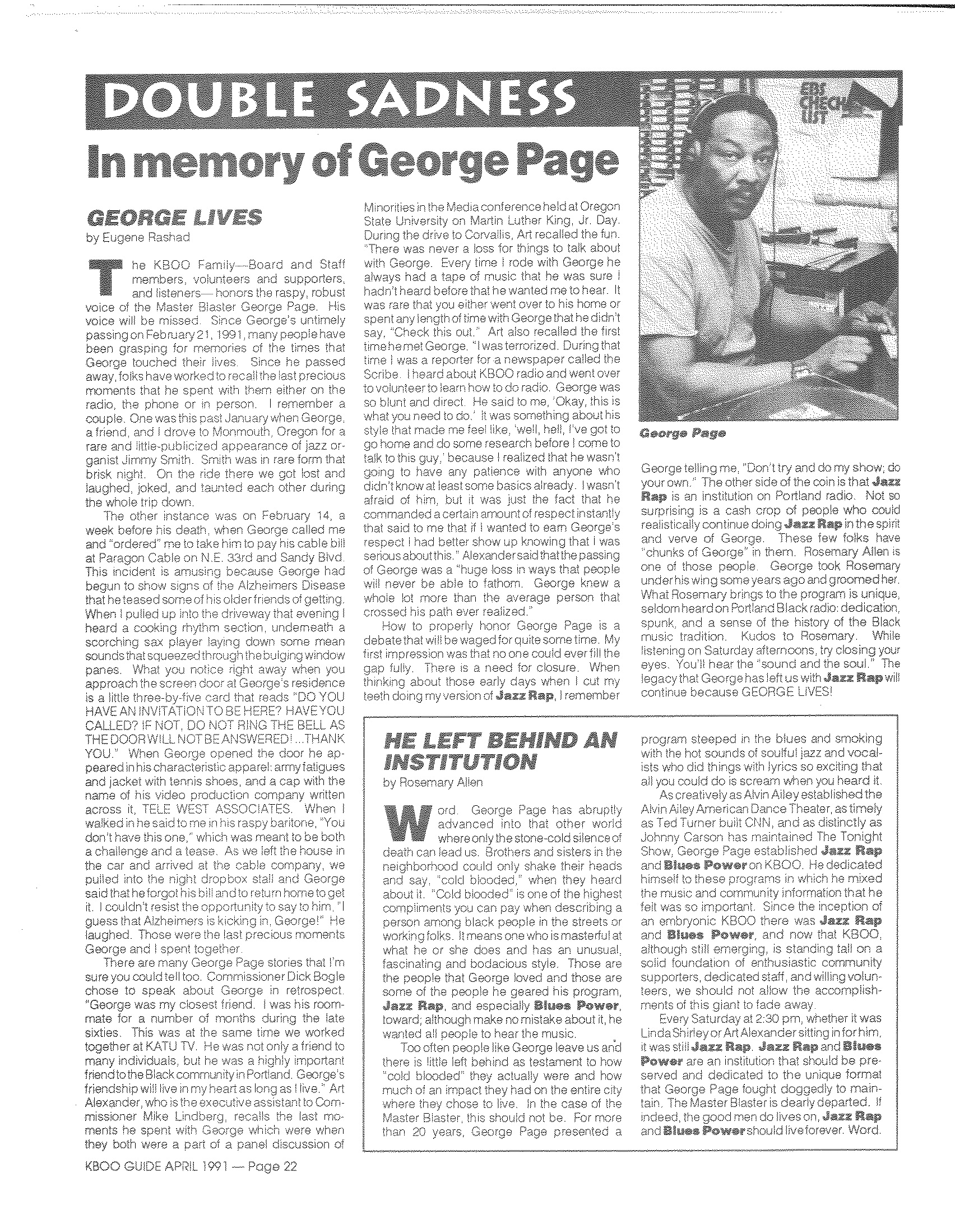 Article written in KBOO Guide after George Page's death in April 1991