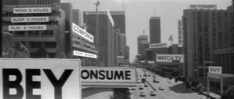 still image from They Live (1988): Obey, Consume, Conform