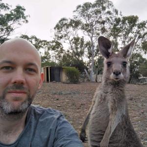 Climate Save organizer Tim Verhoef with kangaroo