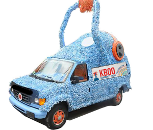 Fuzzyboo van with arm raised