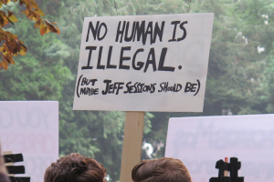 No Human is Illegal - September DACA rally - photo by VJ Beauchamp - Creative Commons