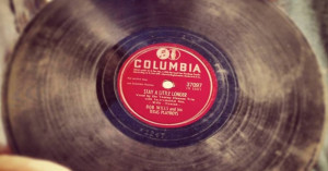 Picture of an old 78 record, black with a red label