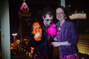 Joshua Samuel Brown, Stephanie Huffman, and puppet friends