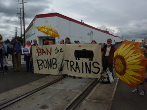Protest on RR tracks in Vancouver, WA after Mosier derailment in 2016