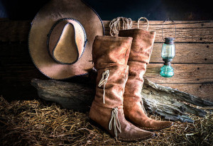 Boots, Hat in Barn