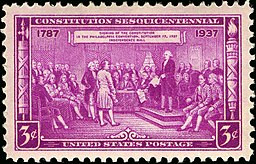 stamp commemorating signing of the US constitution