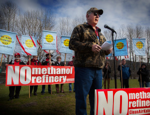 John Flynn speaking at No Methanol Rally Kalama
