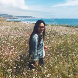 Celeste Noche walking through a field of flowers along a coastline