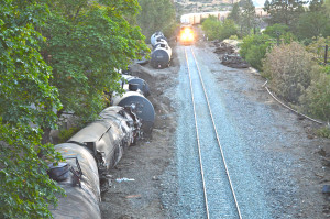 Union Pacific burnt out oil train cars along the tracks in Mosier