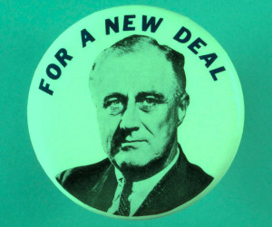 photo of FDR with caption For a New Deal