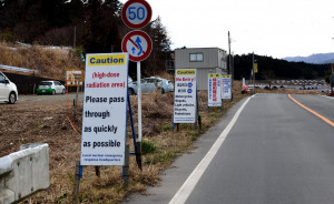 Nuclearhotseat.com - Signs outside the Fukushima Exclusion Zone.  In 2019, total of 26 English caution signs were placed in 12 places in exclusion zones to prevent foreigners from trespassing in radioactive areas. (Photo courtesy of U. G. Kaneko)