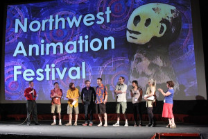 Northwest Animation Festival director Sven Bonnichsen introduces filmmakers at the Hollywood Theatre