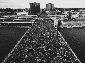 Protesters fill Burnside Bridge June 2, 2020