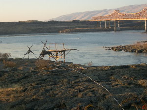 Indigenous Fishing scaffolds by The Dalles Dam