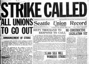 newspaper front page announcing general strike of 1919