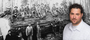steve beda in color, timber workers in black & white background