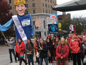 Rally outside PSCAA Hearing for Tacoma LNG 10/30/2018