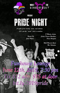 poster for a night of comedy, music, and activism