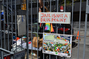 Drug policy reform protest outside UN headquarters, NYC, April 2016
