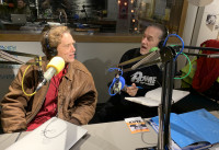 S.W. Conser and Mike Allred at the KWVA radio studios in Eugene