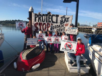 Action on the dock before Coos Bay FERC hearing June 2019