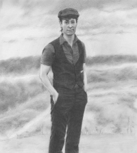 Sketch of a white trans masculine person in a cap with whispy hair.