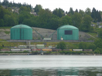 Kinder Morgan pipeline facility in Burnaby, BC Burrard Inlet