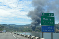 Mosier Oil Train Derailment smoke & sign