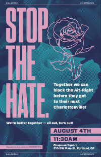 poster for stop hate rally August 4, 2018 Portland, Or