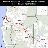 Map of Proposed Jordan Cove pipelines