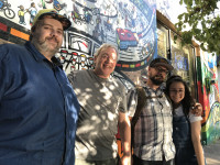 Mikey Neilson, Ron Brister, and Ella Brister at KBOO