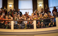 Student activists in the gallery of Portland City Council Chambers